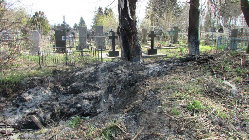 На козятинському міському кладовищі палять дерева