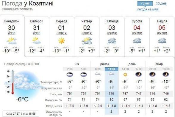 Погода у Козятині на сьогодні, 30 січня