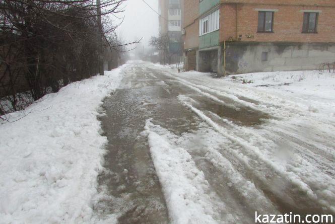Дороги Козятина в незадовільному стані, другорядні вулиці після відлиги в льоду